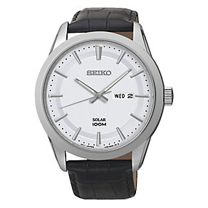 Seiko Men's Solar Black Leather Strap Watch - Product number 2436663