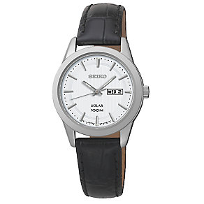 Seiko Ladies' Solar Black Leather Strap Watch - Product number 2436817