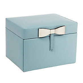 Blue Metallic Bow Detail Jewellery Box - Product number 2467216