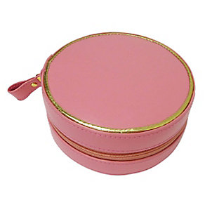 Dusky Pink Circular Zip Detail Jewellery Box - Product number 2467275