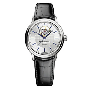 Raymond Weil Maestro men's black leather strap watch - Product number 2469197