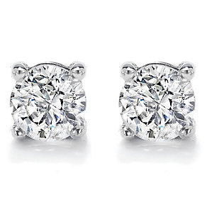 18ct white gold 0.33ct diamond G/H SI1 solitaire earrings - Product number 2482932