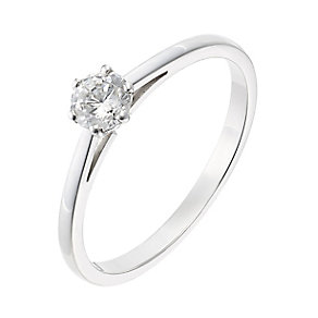 18ct white gold 0.33ct diamond H-I P1 solitaire ring - Product number 2502453