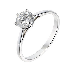 18ct white gold one carat diamond H-I P1 solitaire ring - Product number 2503255