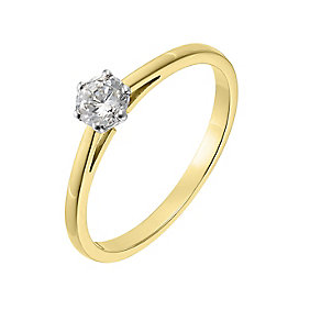 18ct yellow gold 0.33ct diamond H-I P1 solitaire ring - Product number 2503522