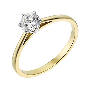 18ct yellow gold 0.40ct diamond solitaire H-I P1 ring - Product number 2503794