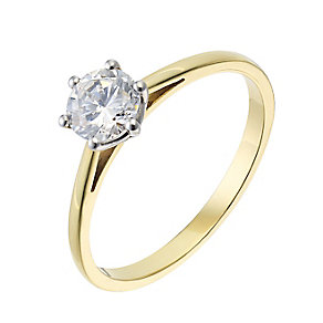 18ct yellow gold 0.66ct diamond H-I P1 solitaire ring - Product number 2503913