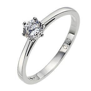 Platinum 0.40ct claw diamond H-I P1 solitaire ring - Product number 2504189