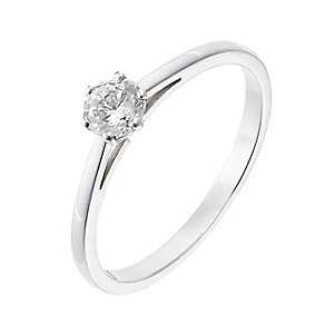 18ct white gold 0.33ct diamond H-I SI2 solitaire ring - Product number 2505568