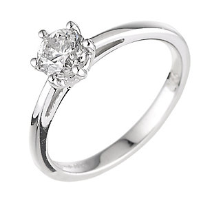 18ct white gold 0.66ct diamond H-I SI2 solitaire ring - Product number 2505983