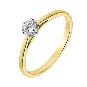 18ct yellow gold 0.33ct diamond H-I SI2 solitaire ring - Product number 2506483