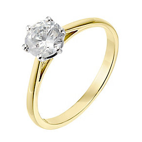 18ct yellow gold one carat diamond H-I SI2 solitaire ring - Product number 2507013