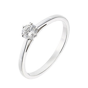 18ct white gold 0.33ct diamond G-H SI1 solitaire ring - Product number 2508362