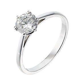 18ct white gold one carat diamond G-H SI1 solitaire ring - Product number 2509202