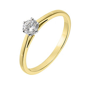 18ct yellow gold 0.33ct diamond G-H SI1 solitaire ring - Product number 2509474