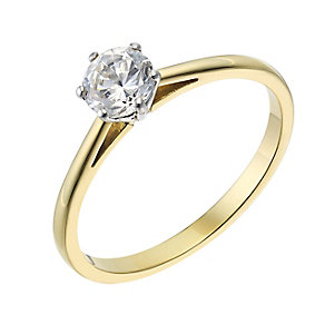 18ct yellow gold 0.40ct diamond G-H SI1 solitaire ring - Product number 2509601