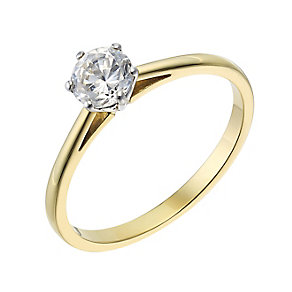 18ct yellow gold 0.50ct diamond G-H SI1 solitaire ring - Product number 2509733