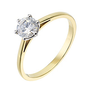 18ct yellow gold 0.66ct diamond G-H SI1 solitaire ring - Product number 2509865