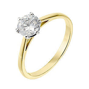 18ct yellow gold one carat diamond G-H SI1 solitaire ring - Product number 2510006