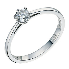 Platinum 0.33ct 6 claw diamond G-H SI1 solitaire ring - Product number 2510286