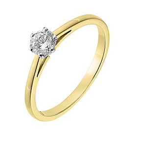 18ct yellow gold 0.33ct diamond F-G VS2 solitaire ring - Product number 2511878
