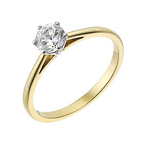 18ct yellow gold 0.40ct diamond  F-G VS2 solitaire ring - Product number 2512009