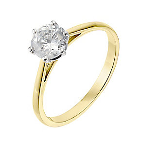 18ct yellow gold one carat diamond F-G VS2 solitaire ring - Product number 2512416