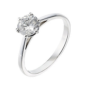 18ct platinum one carat diamond H-I P1 solitaire ring - Product number 2513390