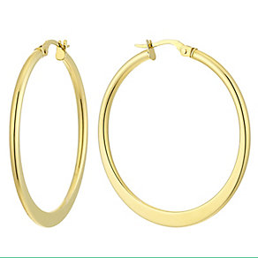 9ct yellow gold large tapered creole earrings - Product number 2513587