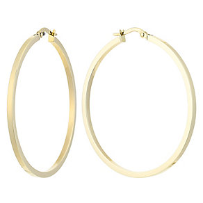 9ct large square tube creole earrings - Product number 2513595