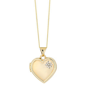 9ct yellow gold diamond set heart locket - Product number 2513986