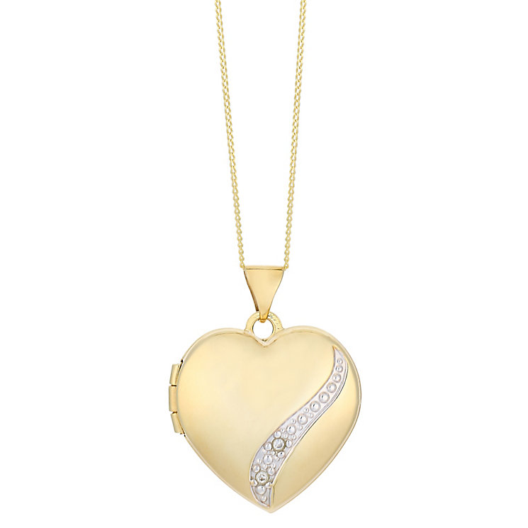 9ct yellow gold diamond set heart locket - Product number 2514060