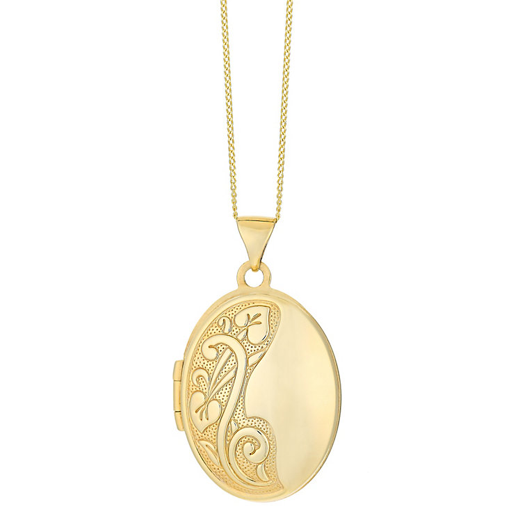 9ct yellow gold oval floral locket - Product number 2514095