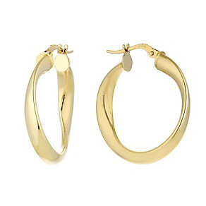 9ct yellow gold chunky twist creole hoop earrings - Product number 2514117