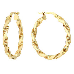 9ct yellow gold patterned twist creole earrings - Product number 2514133