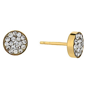 9ct yellow gold crystal round large stud earrings - Product number 2514435