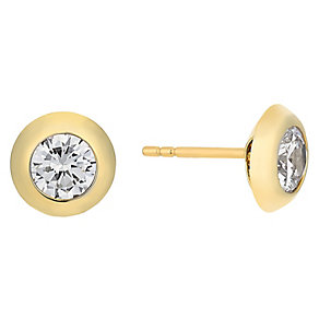 9ct yellow gold cubic zirconia pave round stud earrings - Product number 2514494