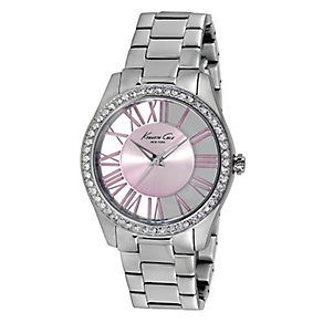 Kenneth Cole Ladies' Stone Set Stainless Steel & Pink Watch - Product number 2514508