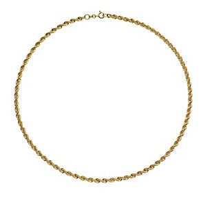 9ct yellow gold hollow 70PG rope necklace 18
