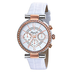 Kenneth Cole Ladies' Rose Gold Tone & White Strap Watch - Product number 2514745