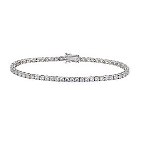 9ct white gold 3mm round cubic zirconia tennis bracelet - Product number 2515229