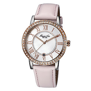 Kenneth Cole Ladies' Rose Gold Tone & Pink Strap Watch - Product number 2515547