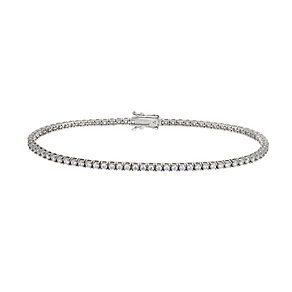 9ct white gold 2mm round cubic zirconia tennis bracelet - Product number 2515571