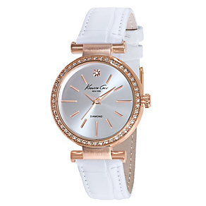 Kenneth Cole Ladies' Rose Gold Tone & White Strap Watch - Product number 2515598