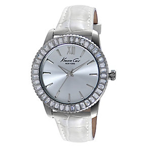 Kenneth Cole Ladies' Stone Set &  White Strap Watch - Product number 2515741