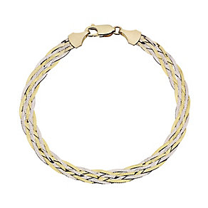 9ct yellow gold & white gold six plait herringbone bracelet - Product number 2515768