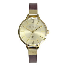 O.W.L Ladies' Richmond Yellow Gold Tone & Red Leather Watch - Product number 2516071
