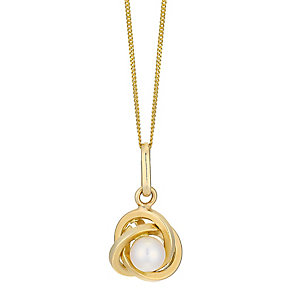 9ct yellow gold cultured freshwater pearl knot pendant - Product number 2516896