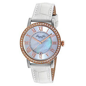 Kenneth Cole Ladies' Mother Of Pearl & White Strap Watch - Product number 2518619