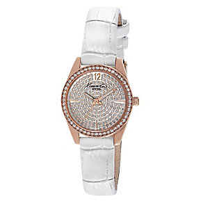 Kenneth Cole Ladies' Rose Gold Tone Pave Set White Watch - Product number 2518813